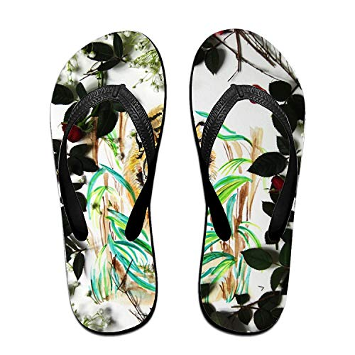 (Yoga slipper Floral Tiger beach sandal Anti Slip Flip Flops outdoor Thong)