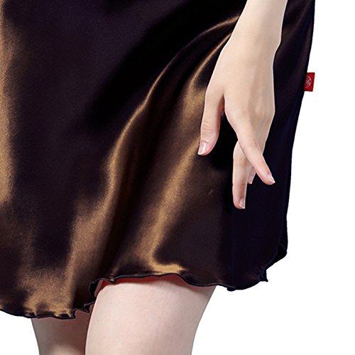 LULUSILK Camisón de Seda 22 Momme Correas de Espagueti Escote Cruzado para Mujeres Chocolate
