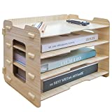 CLAPOTIS 4 Layer Wood File Organizer Tray/4 Tier Desk Organizer/Letter Tray Organizer/File Folder Organizer Tray/Stacking Trays/Hanging File Organizer/Paper Organizer for Home & Office
