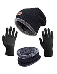Hat Scarf and Glove Set ASYBHYY Winter Warm 3 in 1 Set, Knitted Beanie Cap Circle Scarf and Non-Slip Touchscreen Gloves Fleece Lining Soft Stretch for Men or Women