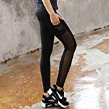 Women High Waist Sports Mesh Tights Workout Running Pant Legging with Side Pocket