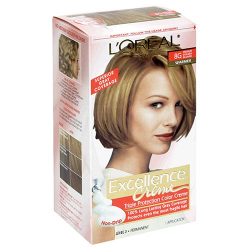 - L'Oreal Excellence Triple Protection Color Creme, Medium Golden Blonde/Warmer 8G