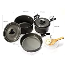 Outdoor Camping Cookware Set: Bowl Packing bag Soup spoon Rice ladle Cleaning loofah Non-stick Anodized Aluminum Pot、Lid( Big and Medium) and Pan Lightweight and Compact Suits For 2~3 Person.