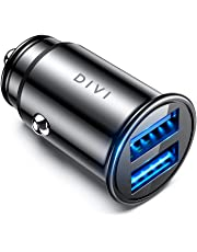 DIVI Car Charger, USB Car Charger 12V/ 24V Car Adaptor with Mini Size Dual Port(5V/4.8A/24W), Fast Charging for iPhone XR/Xs Max / 8 Plus, iPad Air, Galaxy S8/S7/Edge, Note 5/4, Huawei (Black)