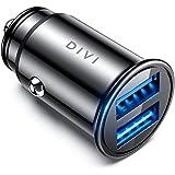 シガーソケット USB カーチャージャー 4.8A/24W usbシガーチャージャー 超小型 全金属 2USBポート 急速充電 usb車載充電器 iPhone Xs Max/Xs/8/7/6s/Plus、iPad Air 2/mini 3、Samsung Galaxy S9/S8/S7など対応 (ブラック)[DIVI]
