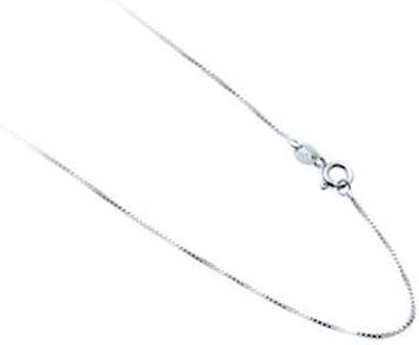 1mm 4-Sided Box-Snake Link Italian Chain Necklace in .925 Italy Sterling Silver