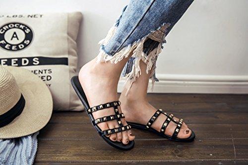 Casual de Sandalias de Plano Tacón Al Libre Zapatilla Aire de Mujer Moda de Zapatos de PU Fiesta para Remache de Verano Sandalias Confort Un HO6Yqvw