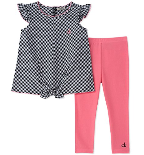 Calvin Klein Cotton Tunic - Calvin Klein Baby Girls Tunic Leggings Set, Black Plaid/Coral, 24M