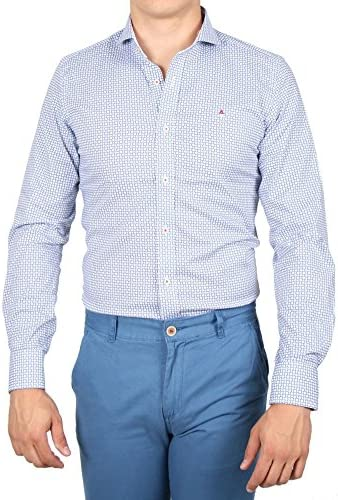 Alvaro Moreno, Camisa Print Dots-44, color Celeste: Amazon ...