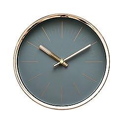 Modern Design Scandinavian 6 Silent Non-Ticking Sweep Movement Desktop Clock, Table Clock, Wall Clock with Rose Gold Frame (Sleek Gray)