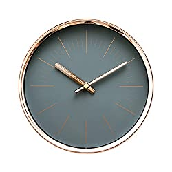 Arospa Modern Design Scandinavian 6 Silent Non-Ticking Sweep Movement Desktop Clock, Table Clock, Wall Clock with Rose Gold Frame (Sleek Gray)