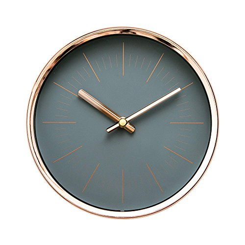Black Desktop or Wall Clock with Rose Gold Frame