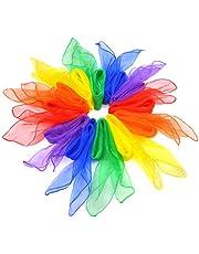 Ggdoo 12 stuks danssjaals, speelgoed, kleurrijk, trucs, vierkant, dans, zijde, magische sjaals, accessoires, heldere kleuren