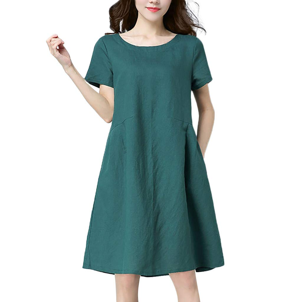 Nuewofally Women Cotton Linen Dress Casual Short Sleeve Sundress Fashion Midi Dress Baggy Wedding Party Club Dress (Green,2XL)