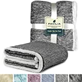 PAVILIA Premium Gray Sherpa Melange Throw Blanket for Twin Bed, Couch, Sofa by Soft, Fluffy, Plush, Warm, Cozy, Lightweight Microfiber, Modern Luxury Reversible TV Blanket (60 x 80 Inches, Charcoal)