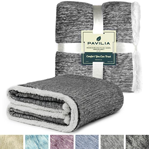 Premium Sherpa Melange Throw Blanket for Twin Bed, Couch, Sofa by Pavilia | Soft, Fluffy, Plush, Warm, Cozy | Charcoal Gray Lightweight Microfiber, Modern Luxury Reversible TV Blanket | 60 x 80 Inches (Sherpa Sofa)