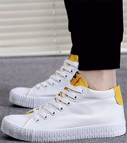 SATUKI Canvas Shoes For Men,Fashion Sneakers,Casual Flat Low Top Classic Lace Up Soft Athletic Lightweight Sports Shoes White