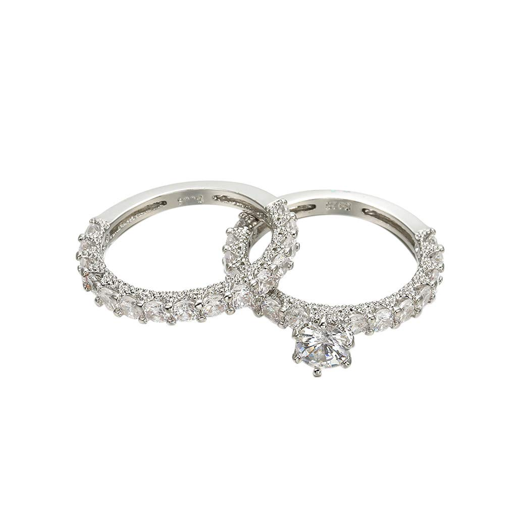 Anniversary Gift,2 In 1 Chic Women White Diamond Ring Set Wedding Engagement Jewelry Gift