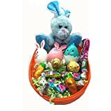 Easter Basket Jumbo Egg Filled With Easter Bunny, 3 Eggs with Hersheys Kiss Milk Chocolate, Lindt Lindor Chocolate, Bunny Shape Chocolate.(Orange Egg)