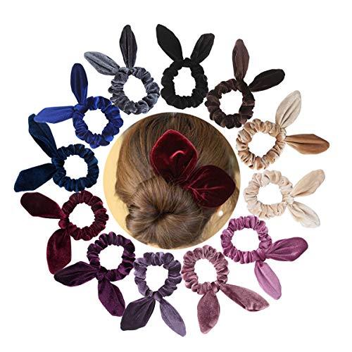 Jaciya 12 Pack Hair Scrunchies Velvet Elastic Hair Bands Scrunchy Hair Ties Ropes Scrunchies for Women or Girls Hair Accessories, Rabbit Ear Scrunchie by Jaciya