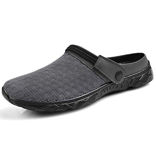 - Feetmat Men's Garden Clogs Mesh Lightweight Water Shoes Slip On Sandals Summer Aqua Slippers Darkgrey Size 11