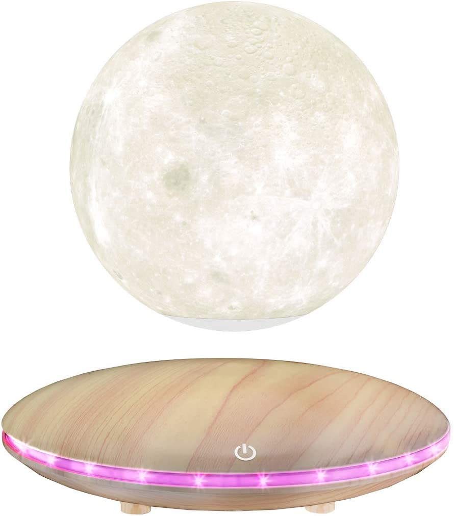 RUIXINDA Levitating Moon Lamp, 3D Printing Moon Light Lamp with Touch Control and Wooden Base,Magnetic Floating Rotating LED Light Night for Home、Office Decor, Creative Gifts