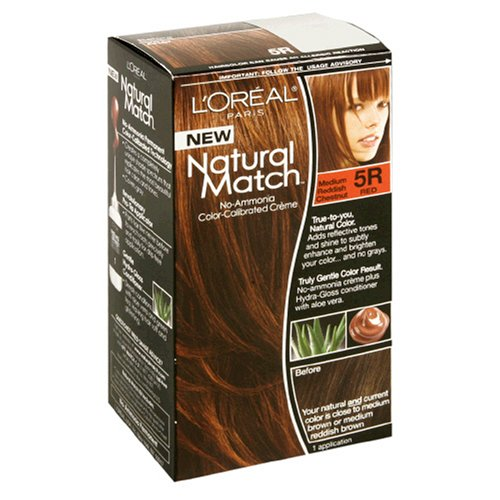 L'Oreal Natural Match No-Ammonia Color-Calibrated Creme, Medium Reddish Chestnut, 5R (Hair Color Match)
