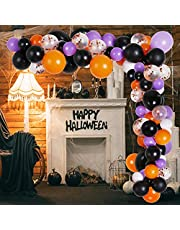 114pcs Purple Orange Balloon Arch Garland Kit, Black Orange Confetti Party Balloons with DIY Accessories for Halloween Birthday Graduation Christmas Party Decorations