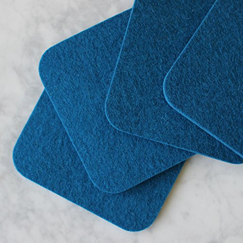 (Square Felt Coasters - 100% Merino Wool - Absorbent - Soft - Durable - Made in the USA - Set of 4 - SATISFACTION GUARANTEE (Blue))