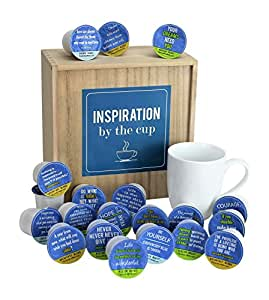 Inspiration By The Cup - 20 Inspiring Quotes On 20 Single Serve K-Cups In A Keepsake Wooden Box