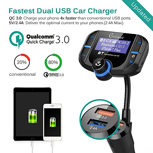Bluetooth FM Transmitter for Car with Quick Charge 3.0 Car Charger Wireless Radio Audio Adapter Handsfree Calling Car Kit Input 1.7 inch Display by CHGeek (Image #2)