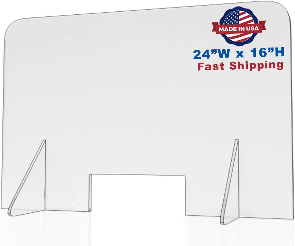 Sneeze Guard for Counter and Desk 16W x 30H plexiglass Shield Freestanding Clear Acrylic Shield Pass-Through Transaction Window