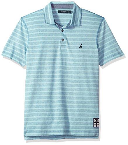 Nautica Mens Classic Fit Short Sleeve Reverse Stripe Print Polo Shirt