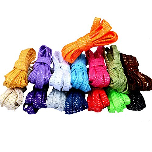 [Hand made 9mm wide Thread Glitter Sparkle Shoelaces Shoe Laces Strings Shoestrings for Sneaker 110cm 15 Colors