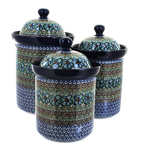 Polish Pottery Mardi Gras 3 Piece Canister Set
