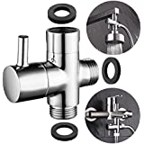 "CIENCIA G1/2"" Bathroom Angle Valve For Solid Brass 3-Way Shower Arm Diverter Valve Handshower for Handshower Universal Showering Components,Chrome DSF007"