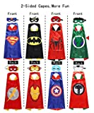 Halloween Cosplay Superhero Costumes 2-Sided Capes Masks 4 Pack 8 Heroes Satin 8 Felt Masks