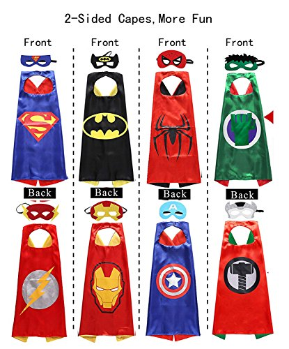 (Halloween Cosplay Superhero Costumes 2-Sided Capes Masks 4 Pack 8 Heroes Satin 8 Felt)