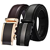 Xhtang Men's Solid Buckle with Automatic Ratchet Leather Belt 35mm Wide 1 3/8''