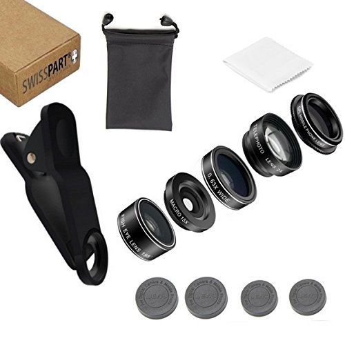 Cell Phone Camera Telephoto Lens Kit 5 in 1 Universal Clip On adapter Fisheye 15x Macro 0.63x Super Wide For iphone Samsung Galaxy (Cell Phone Parts)
