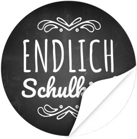 24 x Aufkleber zur Einschulung, rund 4cm - Motiv Endlich Schulkind Tafel Look - Schule/Schulkind/Eingeschult/Junge/Mädchen