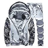 RSunshine Men's Velvet Casual Hooded Sports Camo Outfit Sweat Suit Set