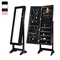 Cloud Mountain Mirrored Jewelry Cabinet Free Standing Lockable Adjustable Jewelry Armoire Full Length Floor Tilting Jewelry Organizer