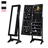 Cloud Mountain Mirrored Jewelry Cabinet Free Standing Lockable Adjustable Jewelry Armoire