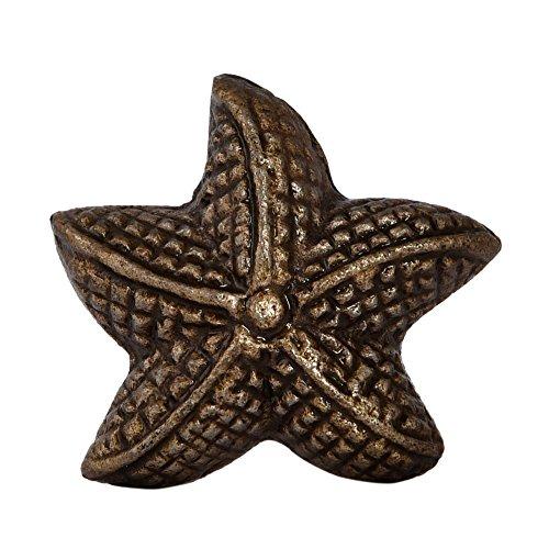MarktSq Set of 4 Star Fish Cabinet Knobs in Antique Brass ()