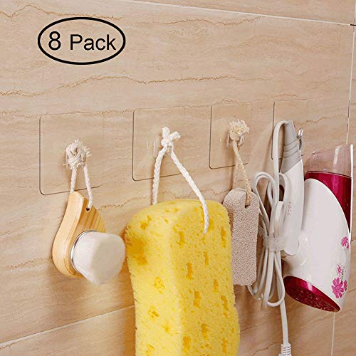 Hawsam 8PCS Clear Adhesive Sticky Wall Hooks,No Drilling Strong Waterproof Sticker Hanger for Kitchen, Shower and Bathroom 20kg/44lb. (Max Loading)