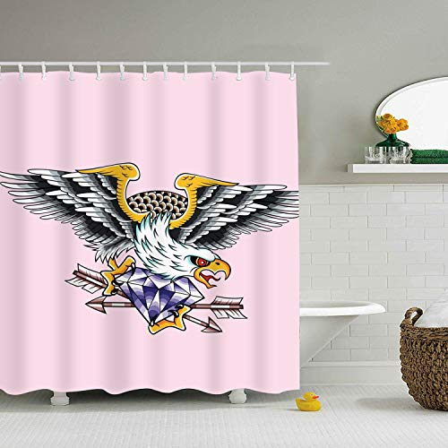 nicell11 Bathroom Shower Curtain Eagle Diamond Tattoo Shower Curtains - Landmark Diamond Ring