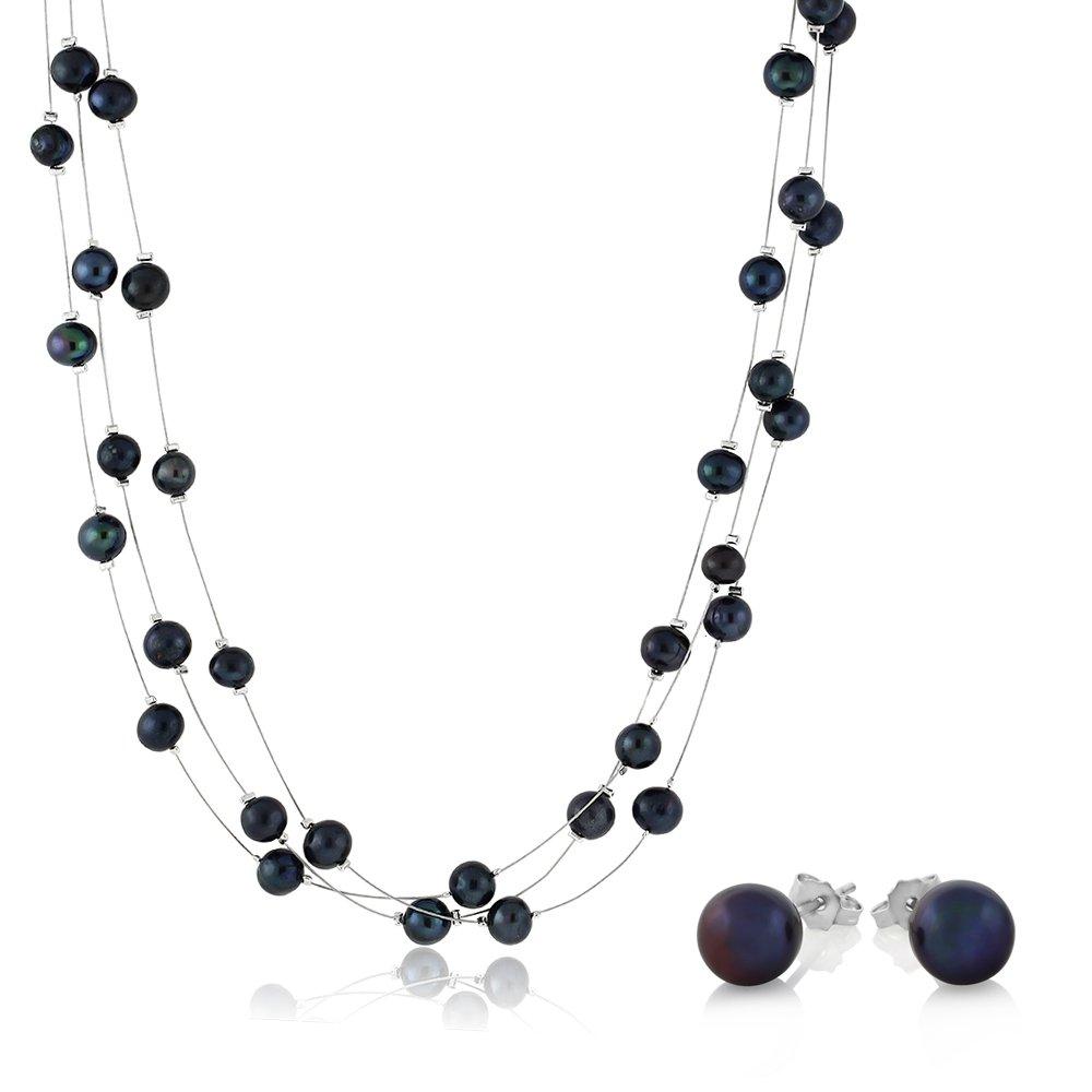 18 Black 3-String Cultured Freshwater Pearl Necklace Earrings Set JKW-18