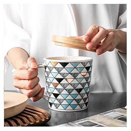 HaloVa Mug, Fashion Creative Coffee Mug, Cartoon Geometric Pattern Ceramic Travel Tea Cup with Handle, Green (Sale Big For Mugs)