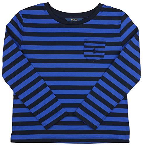 Polo Ralph Lauren Big Girls' (7-16) Striped L/S Pocket Pony T-Shirt-Royal Blue/Navy-Medium